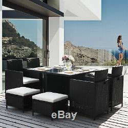 Garden Rattan Indoor Dining Set Table and Chairs Furniture Set 9 PCS-Black