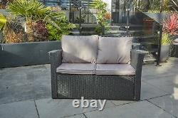Garden conservatory furniture 4 seater black rattan sofa set & coffee table