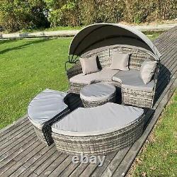 Garden furniture rattan Sofa sun lounger Daybed mixed grey rattan with cushion