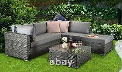 Gozo' Grey Rattan Garden Furniture Lounge Set, Chaise Corner Sofa Coffee Table