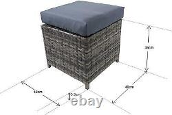 Grey 9 Seat Rattan Garden Furniture Outdoor Sofa Dining With Rising Table Set