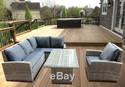 Grey Luxury Garden Corner Dining Set Outdoor Table Sofa Rattan Weave Furniture