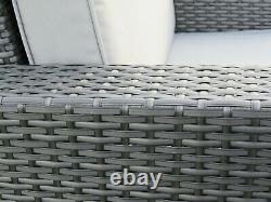 Grey Outdoor Rattan Garden Furniture Patio Sofa Chair Set Conservatory