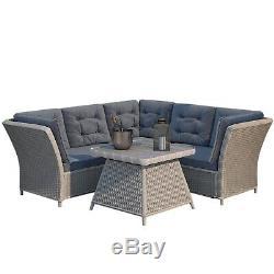 Grey Rattan Garden Furniture Set Corner Sofa & Table Aspen FTR022