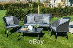 Grey Rattan Garden Furniture Set Table Chairs Corner Sofa Seating Outdoor Patio