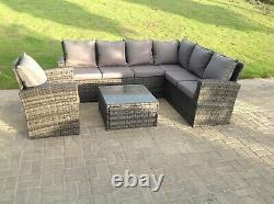 Grey Wicker Rattan Garden Furniture Sets Corner Sofa Outdoor Patio Coffee Table