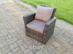 High Back Rattan Arm Chair Patio Outdoor Garden Furniture With Cushion