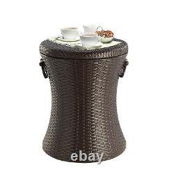 Ice Cooler Outdoor Cool Bar Rattan Style Table Garden Furniture Brown