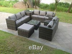 Indoor Outdoor 9 Seater Rattan Sofa Set Ottoman Garden Furniture Table Set Grey