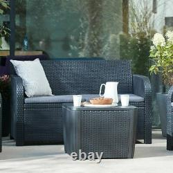 Keter 4 Piece Rattan Garden Set Furniture Chairs Sofa Table Patio Conservatory