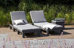 Keter Allibert Rattan Cappuccino or Grey Daytona Sun lounger Garden Furniture