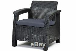 Keter Corfu 4 Seater Lounge Set Plastic Rattan Garden Furniture G/C