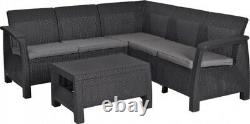 Keter Corfu Corner Sofa 5 Seat Lounge Set Plastic Rattan Garden Furniture Chairs