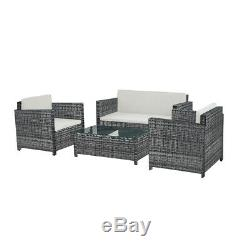 Large 4 Piece Rattan Garden Furniture Patio Set Table Chairs Grey/ Black / Brown