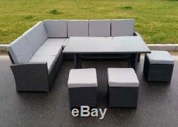 Large Grey Rattan Garden Furniture Dining Set 10 Seater Table FREE COVER
