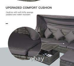 Large Rattan Sofa Set Garden Patio Furniture Wicker Coffee Table Day Bed Canopy