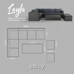 Layla Grey Garden Furniture Corner Sofa with Coffee Table and Two Stools