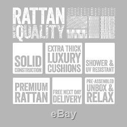 Layla Grey Rattan Garden Furniture Corner Sofa with Coffee Table and 2 Stools