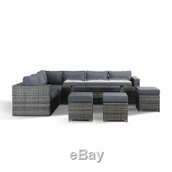Layla Grey Rattan Garden Furniture Corner Sofa with Dining Table and 3 Stools