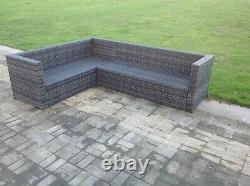 Left arm 8 seater grey rattan corner sofa set table outdoor garden furniture