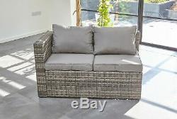 LimitedRattan Garden Furniture 6 Seater Corner Sofa Patio Set Grey coffee table