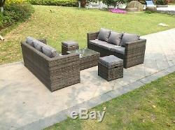 Lounge Rattan sofa with foot rest table 8 seater patio outdoor garden furniture