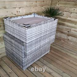 Luxury Grey Wicker Rattan Sofa Cube Garden Furniture Lounger Set Glass Top Table