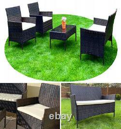 Luxury ratan garden furniture, outdoor 2-seater sofa + 2 armchairs + table