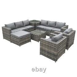 Malta Rattan Outdoor Garden Furniture Patio 9 Seat Rattan Sofa U-Shape Set