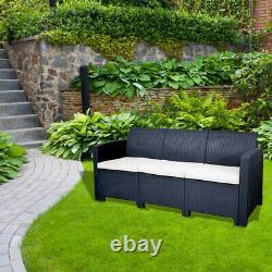 Marbella 3 Seater Rattan Sofa Outdoor Garden Furniture in Graphite Cream Cushion