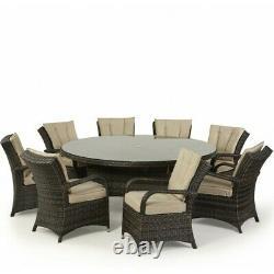 Maze Rattan Garden Furniture Texas 8 Seater Round Table Set in Brown