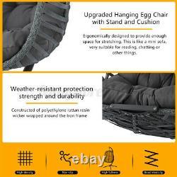 Meigar Hanging Egg Chair Swing Rattan WithHeadrest&Cushion&Stand Garden Furniture