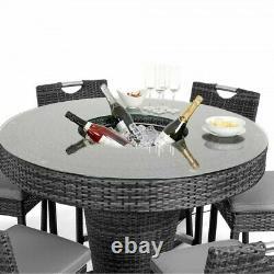 Milan Rattan Garden Furniture Grey 6 Seat Round Tall Bar Set with Ice Bucket
