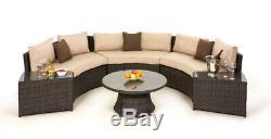 Milan Rattan Outdoor Garden Furniture Brown Half Circle Sofa Set with Table