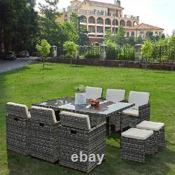 Mix grey 11 PIECES RATTAN GARDEN OUTDOOR FURNITURE SET CUBE DINING CHAIRS TABLE