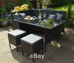 Modular 7 Seater Grey Rattan Garden Furniture Dining Table Set Sofa Corner Stool