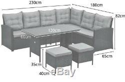 Monroe 8 Seater Garden Rattan Furniture Corner Dining Set Table Sofa Bench Stool