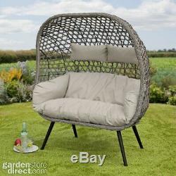 Naples Rattan Wicker Cocoon Egg Chair Floor Standing Garden or Indoors