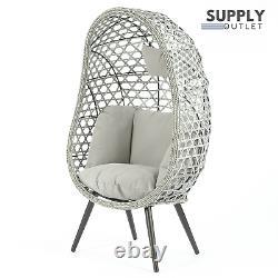 Naples Single Rattan Wicker Home Cocoon Egg Chair Floor Standing Garden Outdoors