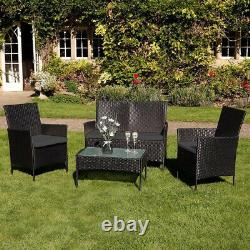 New 4pc Garden Rattan Black Furniture Pillow Set Patio Glass Table Chair Sofa