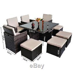 New Rattan Garden Furniture Outdoor Home Cube Weave Wicker Dining Set 9pc
