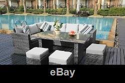 New Rattan Garden Furniture Set 9 Seater Corner Sofa Set Patio Conservatory Grey