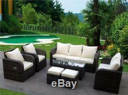 New Rattan Garden Wicker Outdoor Conservatory Corner Sofa Furniture Set Recliner