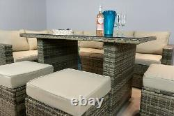 Nova' Brown Rattan Corner Sofa Outdoor Garden Furniture Dining Table Set