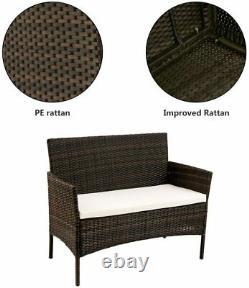 Outdoor 4PCS Patio Ratten Garden Furniture Sofa Set Table + Chair + Cushion UK