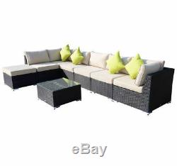 Outdoor 8PCs Garden Rattan Corner Sofa Set Patio Furniture Wicker Outdoor Black