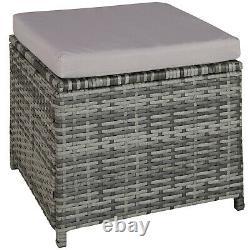 Outdoor Garden Furniture Set UV-Resistant Patio Sofa Stool Table Cushions Grey