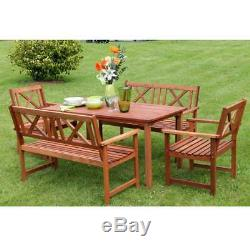 Outdoor Garden Furniture Wooden 6 Seat Rectangular Garden Set Table Chair Sale