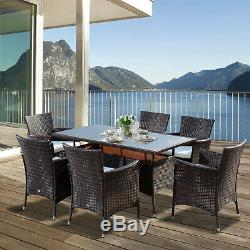 Outdoor Garden Rattan Furniture Cube Dining Set Rectangular Table 6 Chairs Brown
