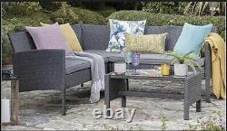 Outdoor Grey Rattan Garden Furniture 5 Seat Corner Sofa & Coffee Table Patio Set